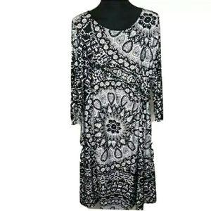 NY Collection Black White Print Shift Dress 1X